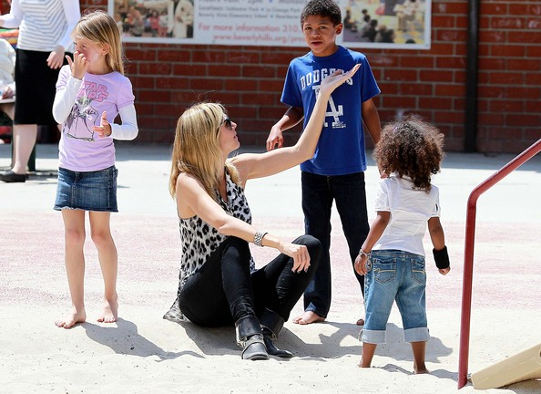Heidi with her children in the park